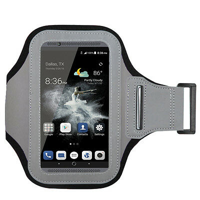 Smart Cell Phone Premium Sport Light Gray Armband Gym Running Jogging Case Cover
