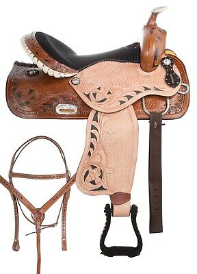 Used Blue Western Barrel Racing Trail Show Horse Leather Saddle Tack 14 15 16