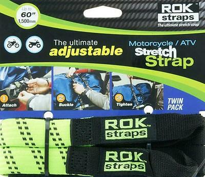 ROK Straps Motorcycle Adjustable Tie Down Straps 2 pk BMW Honda Triumph Green