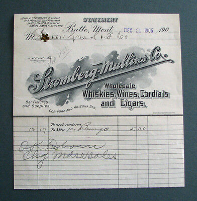#54 - old 1906 BUTTE MONTANA old STROMBERG-MULLINS WHISKEY WINE billhead CIGARS