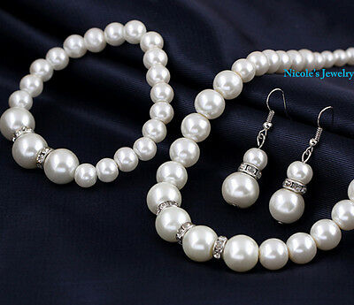 Elegant Faux Pearl With Crystal Ring Necklace Bracelet Earrings Set 19