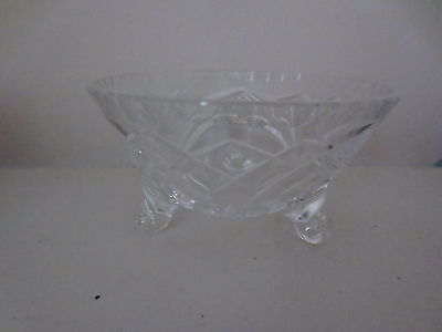 Vintage Crystal Glass Bowl 3 Footed