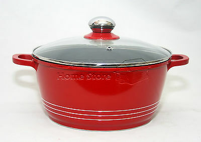 20Cm Die Cast Non Stick Deep Induction Casserole Pot Cookware Glass Lid Red