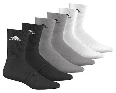 Adidas 3 Stripes Performance Crew Half Cushioned 6 Pairs Calcetines