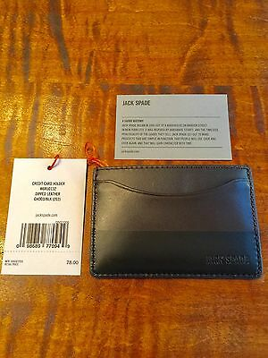 Jack Spade Dipped Leather Credit Card Case Wallet Chocolate / Black New MSRP $78