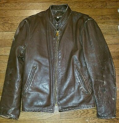 Vtg 70's Brown Leather Cafe Racer Motorcycle Jacket Mens Size 40 Heavy Coat