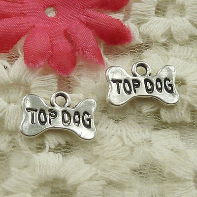 Free Ship 90 pieces Antique silver bowknot TOP DOG charms pendant 16x10mm H-4869
