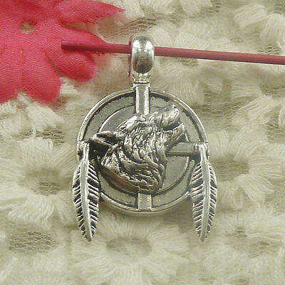 Free Ship 36 pieces Antique silver wolf leaves charms pendant 38x23mm H-4826