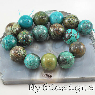 """*26x26mm Natural Hubei Blue Turquoise Round Beads 15"""" (TU612)m for DIY  Jewelry"""