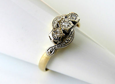 Art Deco 18ct Gold Diamond Three Stone Ring Fully Hallmarked