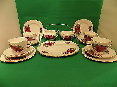 Royal Vale Red Rose 15 Piece Tea Set