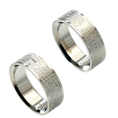 Band Padre AVE Prayer Ring Our MARY JANE Steel UNISEX FASHION COLORFUL vs