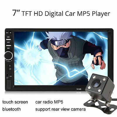 7018B 2DIN in-Dash 7Inch Bluetooth Car Audio Stereo MP3 MP5 Player 4X LED CameF1