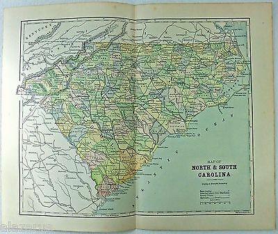 Original 1885 Map of North & South Carolina by Phillips & Hunt