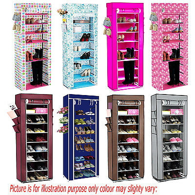 10 Tier Layers Canvas Fabric Shoes Rack Storage Cabinet Organiser Zipper Stand