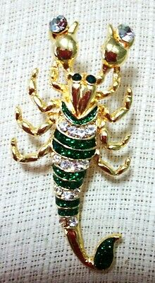 Cute Green Scorpion  Enamel Crystal Rhinestone Brooch Pin Accessories Souvenir