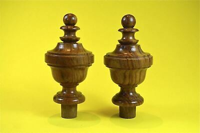Pair superb 5 inch antique hardwood turned finial furniture clock mirror top F2