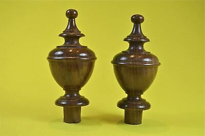 Pair superb 4 1/2 inch antique hardwood turned finial furniture clock mirror F4