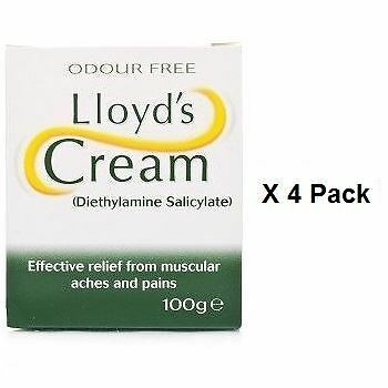 Lloyds Cream Odour Free Muscular Pain Relief Cream 100g x 4 Pack
