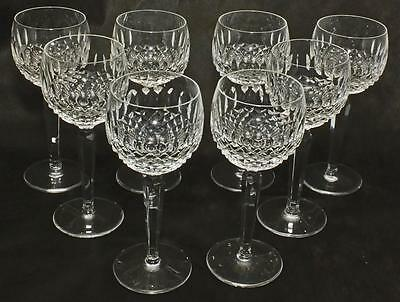 """8 Vintage Waterford Colleen Crystal White Wine Hock Glasses 7.5"""" Tall"""