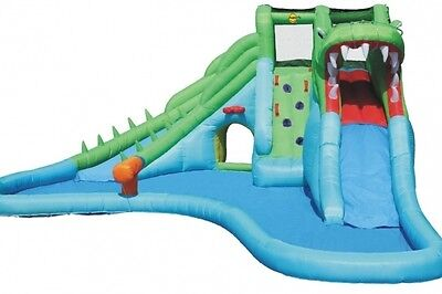 Crocodile Double Inflatable Water Slide and Paddling Pool Bouncy Castle House