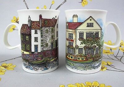 """Two Sue Scullard """"COTTAGES"""" MUGS. Dunoon Ceramics, England. Each mug has a chip."""