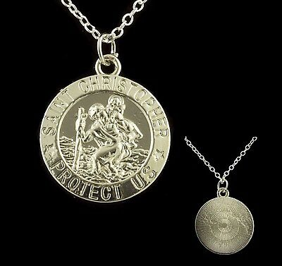 """16"""" to 24"""" Silver Plated Mens St Saint Christopher Pendant Womens Necklace Chain"""