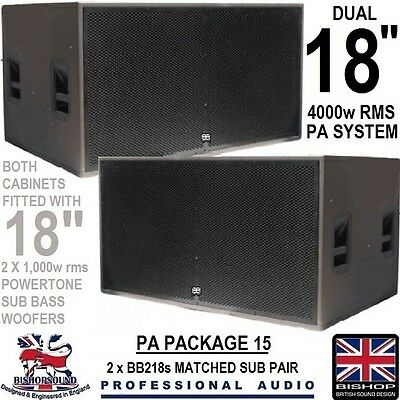 """Dual 18 Inch Subwoofer Twin 18"""" Speakers 4000w RMS PA System DJ Club Bass (PAIR)"""