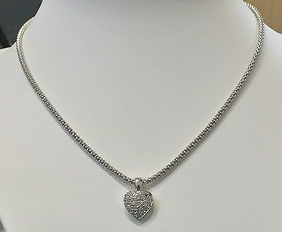 ♥ ♥  Collier maille tricot & Pendentif coeur diamant or blanc 18K  ♥ ♥ ♥