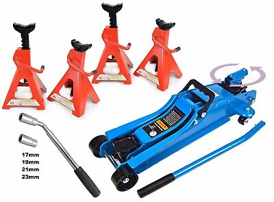 Pro 2.5 Ton Trolley Jack & 4 x 2 Ton Axle Stands Telescopic Car Wheel Wrench DYI