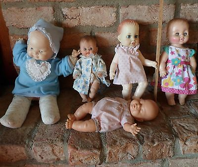 VINTAGE LOT 5 vinyl and soft body baby dolls includes Tiny Tears doll