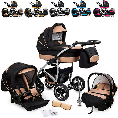 Baby Pram Buggy Newborn Car Seat 3 in 1  Travel System Pushchair Stroller