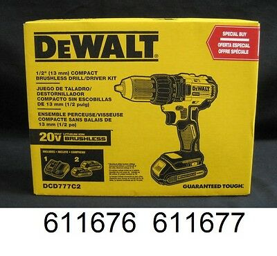 """DeWALT DCD777C2 20V Max Lithium-Ion 1/2"""" Brushless Compact Drill Driver"""
