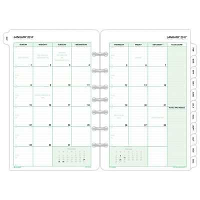 calendar Day Timer Monthly Planner Refill 2017 Two Page Per Month Loose Leaf NEW