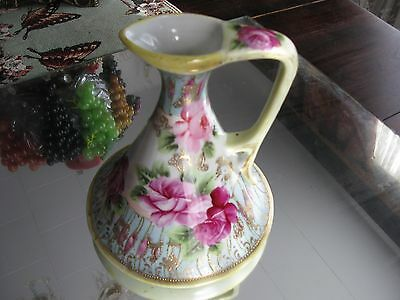 Stunning Antique Roses And Gilt Hand Painted  Nippon Ewer