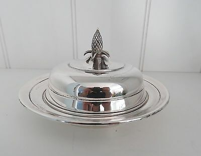 Sterling Silver  Butter Dish by Manchester Silver Co. #523 w Pine Cone Finial