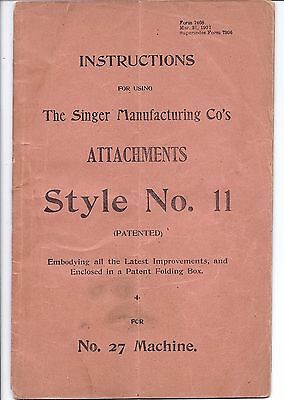 Original 1901 Singer 27 Sewing Machine Style 11 Attachment Manual...puzzle-box