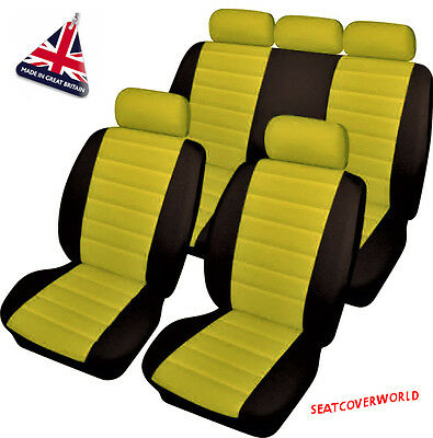 JEEP YELLOW LEATHER LOOK CAR SEAT COVERS FULL SET Patriot Renegade Wrangler