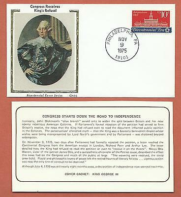 "US-Bicentennial Cover Series-KSC ""Silk"" Cachet -Congress Receives King's Refusal"