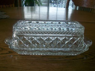 Vintage Depression Glass Anchor Hocking Wexford Pattern Crystal Butter Dish