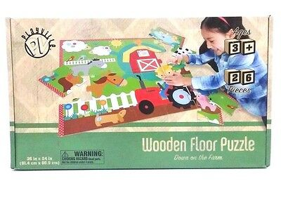 Playville Down On The Farm Wooden Floor Puzzle Learn Education Toy Kids Child 3+