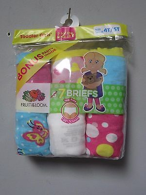 Fruit of the Loom Toddler Girls' 7-Pack Briefs Underwear Size 4T/5T
