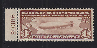 US C14 $1.30 Graf Zeppelin Air Mail Mint Plate # Single VF-XF OG NH SCV $635