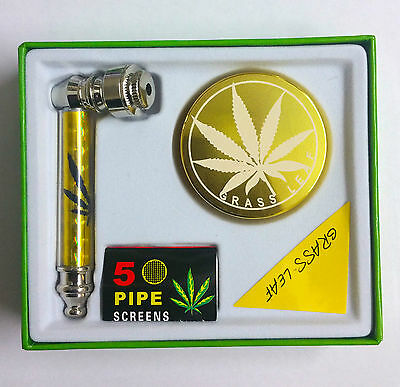 New Metal Smoking Pipes With Five Pipe Screens With 3 Part Herb Gold Grinder Set