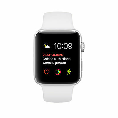 Apple Watch Series 2 38mm Silver Aluminum Case White Sport Band - (MNNW2LL/A)