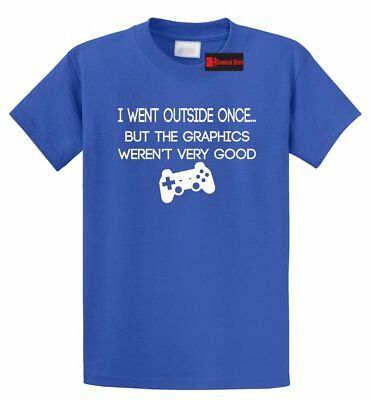 I Went Outside Once Graphics Funny T Shirt Gamer Gift Tee S-5XL