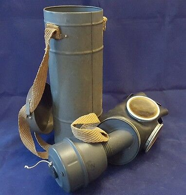 French WW 2 issued gas mask (Type C38?) with case and instructions