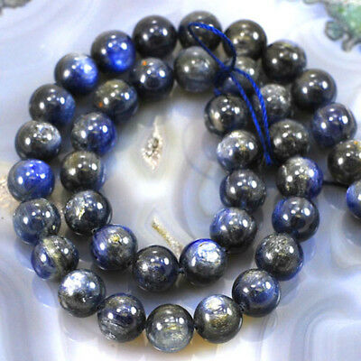 "*9x9mm Natural Blue Kyanite Round Beads 15"" (KY53)c for DIY Jewelry"