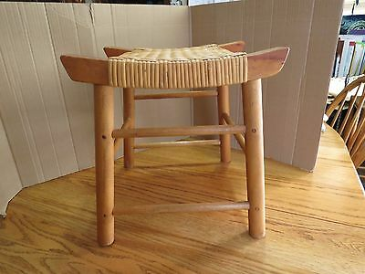 Vintage Wooden Stool Short Handmade Woven Cane Wicker Seat