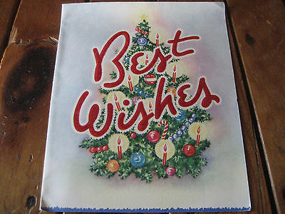 Vtg Wallace/Brown Flocked Christmas Card BEST WISHES Signed 1950's